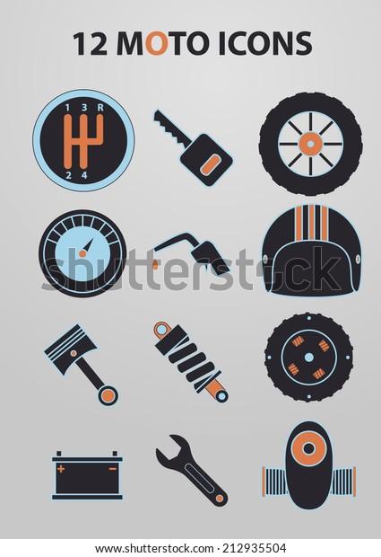 Motorcycle Parts Vector Icon Set Stock Vector Royalty Free 212935504