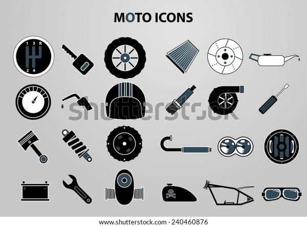 Motorcycle Parts Vector Icon Set Stock Vector Royalty Free 240460876