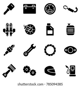 Motorcycle Parts Vector Icons. Details and attributes for riding a motorcycle.
