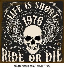 Motorcycle Poster Design Skull Fashion Tee Graphic