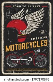 Motorcycle poster vintage, motorbike and biker racing vector retro sign. Moto bike garage and classic chopper bike, American custom motorcycle garage and road travel, helmet on wings, grunge poster