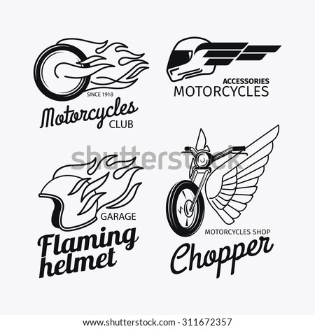 Motorcycle Race Logo Vector Motorbike Label Stock Vector Royalty