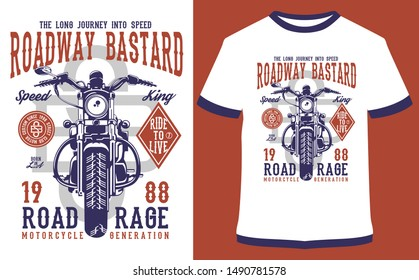 Motorcycle Racer, Moto Ride, Moto Cross, Military Ride, Iron Rider - Vector graphic, typographic design, poster. Vintage motorcycle label, badge, logo, icon or t-shirt