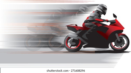 Motorcycle racer on the move, side view .