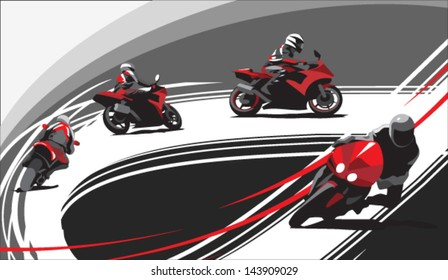 motorcycle racers on the track, gray background