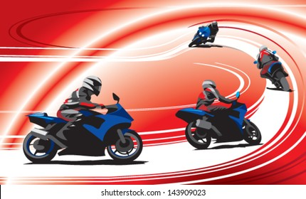 motorcycle racers on the track, red background