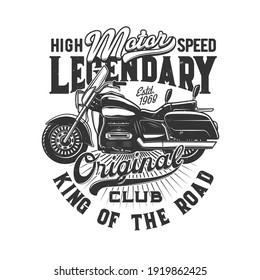 Motorcycle races, bike or motorbike riders club, vector icon for speedway motors sport. Motorcycle racing and speed moto retro grunge t-shirt print, biker motocross, or motorsport custom emblem