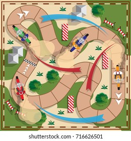 Motorcycle Racing. Board game. View from above. Vector illustration.