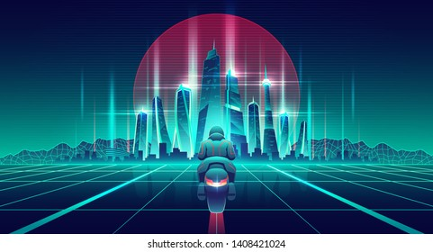 Motorcycle racing in future city cartoon vector concept. Motorcyclist on bike riding on glossy surface with glowing neon grid to futuristic architecture skyscrapers buildings on horizon illustration