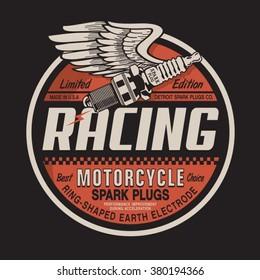 Motorcycle racing plug  typography, t-shirt  graphics, vectors