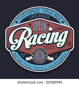 Motorcycle racing sport typography,  t-shirt graphics, vectors
