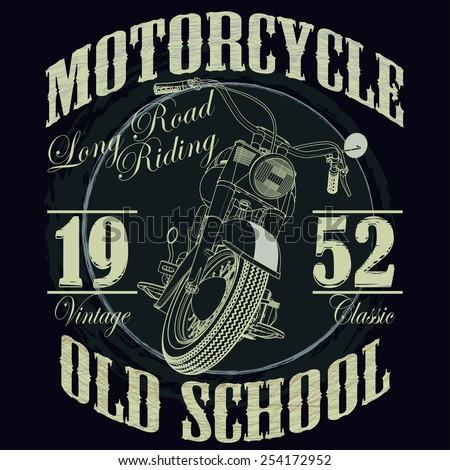 Motorcycle Racing Typography Graphics Old School Stock Vektorgrafik