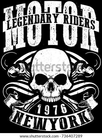 Motorcycle Racing Typography Graphics Poster Skull Stock