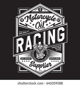 Motorcycle racing typography, tee shirt graphics, vectors