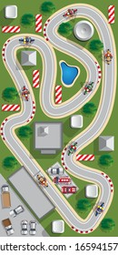 Motorcycle racing. View from above. Vector illustration.