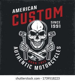 Motorcycle repair service vintage label with skull and crossed skeleton hands holding ratchet wrenches isolated vector illustration