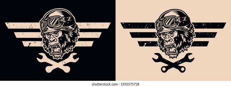 Motorcycle repair vintage emblem with crossed wrenches and ferocious gorilla head in biker helmet and goggles isolated vector illustration