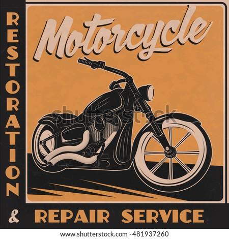 Motorcycle Retro Poster Vector