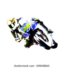 Motorcycle rider, abstract polygonal vector silhouette, front view
