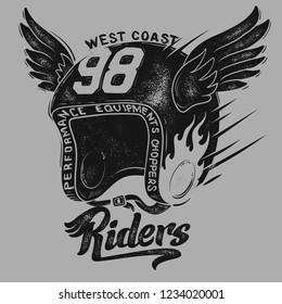 Motorcycle rider helmet, t shirt print design