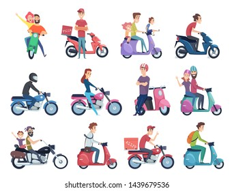 Motorcycle riders. Male and female drivers in helmet on bike fast courier characters vector pictures collection. Motorcycle driver courier, bike scooter delivery, moped deliver illustration