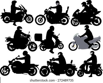 motorcycle riders vector silhouette