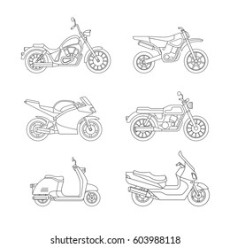 Motorcycle and scooter line icons set. Vector illustrations of different type motorcycles.