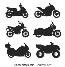 Motorcycle set icons black outline silhouette illustration isolated on white background