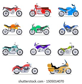 Motorcycle set. Motorbike and scooter, bike and chopper. Motocross and delivery vehicles side view isolated vector flat icons