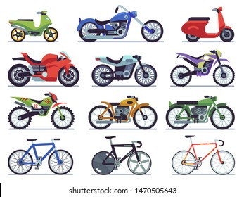 Motorcycle set. Motorbike and scooter, sport bike and chopper. Motocross race and delivery vehicles side view isolated vector flat motorcycling icon set on white background