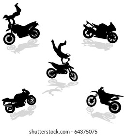 Motorcycle Set silhouettes.Vectors