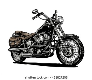 Motorcycle. Side view. Hand drawn classic chopper bike in engraving style. Vector color vintage illustration isolated on white background. For web, poster, t-shirt, club.
