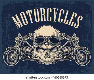 Motorcycle side view and skull with glasses. View over the handlebars. Vector engraved illustration isolated on dark vintage background. For web, poster club.