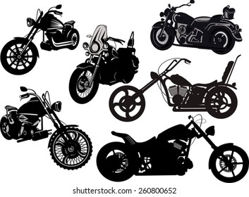 motorcycle silhouette set from different perspectives