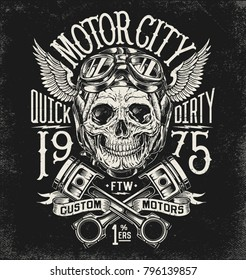 Motorcycle skull with helmet, goggles, pistons and wings. Vintage typography and layout.