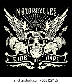Motorcycle skull with helmet,wings.Tattoo design and t shirt printing
