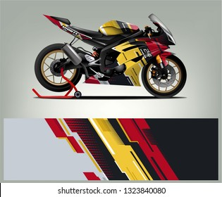 Motorcycle sport decal sticker wrap design vector. Graphic abstract stripe racing background kit designs for Racing livery