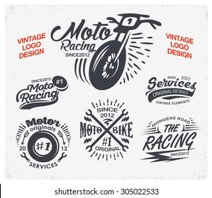 Motorcycle Themed Badge Vectors. Vector logo design