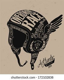 Motorcycle Themed  handmade drawing helmet