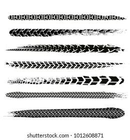 Motorcycle tire tracks vector illustration. Grunge automotive element useful for poster, print, flyer, book, booklet, brochure and leaflet design. Editable graphic image in black color.