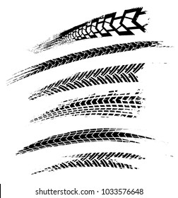 Motorcycle tire tracks vector illustration. Grunge automotive element useful for poster, print, flyer, book, booklet, brochure and leaflet design. Graphic image in black color on a white background.