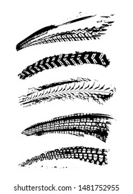 Motorcycle tire tracks vector illustration. Grunge automotive element useful for poster, print, flyer, book, booklet, brochure and leaflet design. Editable image in black color