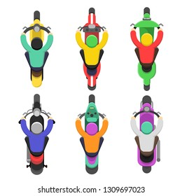 Motorcycle top view. Topping of motor bicycle with drivers traffic vector flat illustrations