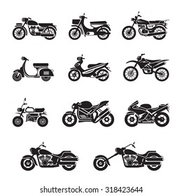 Motorcycle Types Objects Icons Set, Black and white, Silhouette