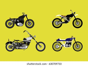 Motorcycle Types Objects Icons Set,