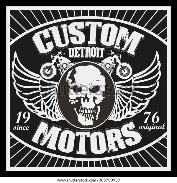 Motorcycle Typography Graphics Symbol Motor Shop Stock Vector