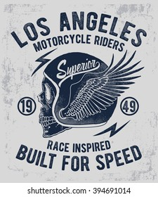 Motorcycle typography with skull illystration, t-shirt graphics, vectors