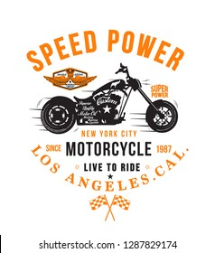 Motorcycle typography, t-shirt graphics, vectors - Vektör