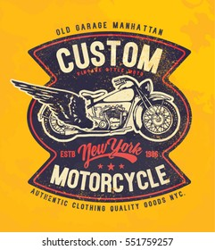motorcycle. typography t-shirt printing.