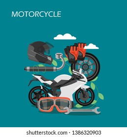 Motorcycle vector flat illustration. Motorbike, helmet, glasses, gloves, exhaust system, wheel, wrench. Motorcycle spare parts and protective gear composition for web banner, website page etc.